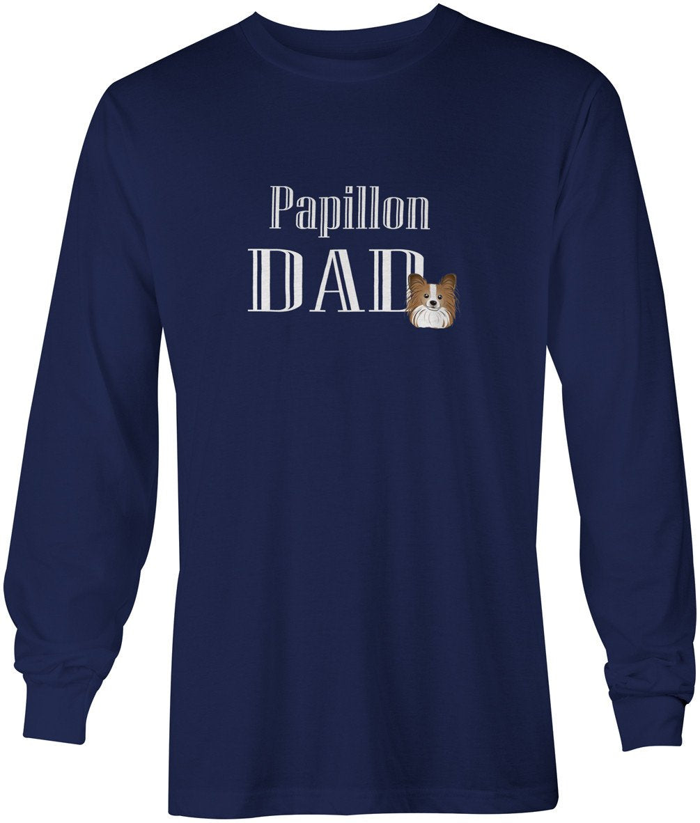 Buy this Papillon Dad Long Sleeve Blue Unisex Tshirt Adult Extra Large BB5256-LS-NAVY-XL