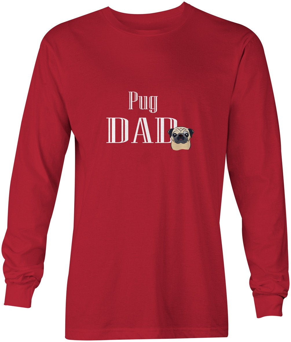 Fawn Pug Dad Long Sleeve Red Unisex Tshirt Adult Medium BB5270-LS-RED-M by Caroline's Treasures