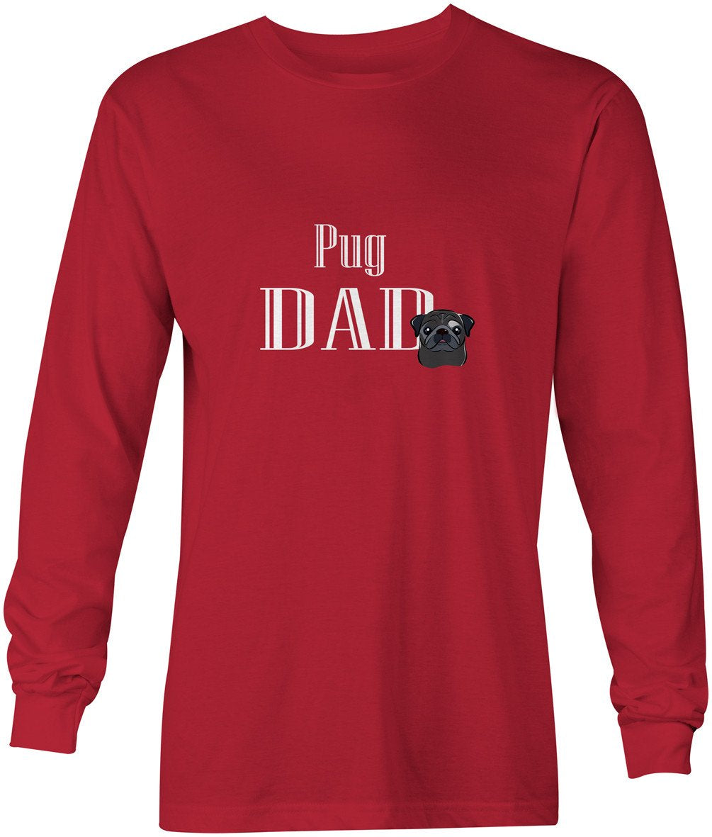 Black Pug Dad Long Sleeve Red Unisex Tshirt Adult Large BB5271-LS-RED-L by Caroline's Treasures