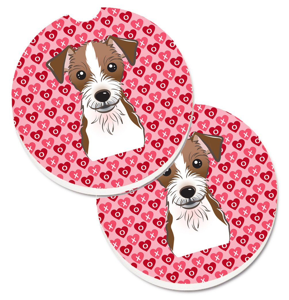 Jack Russell Terrier Hearts Set of 2 Cup Holder Car Coasters BB5272CARC by Caroline's Treasures
