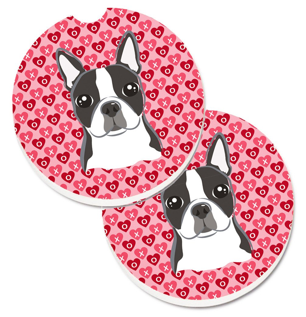 Boston Terrier Hearts Set of 2 Cup Holder Car Coasters BB5273CARC by Caroline's Treasures