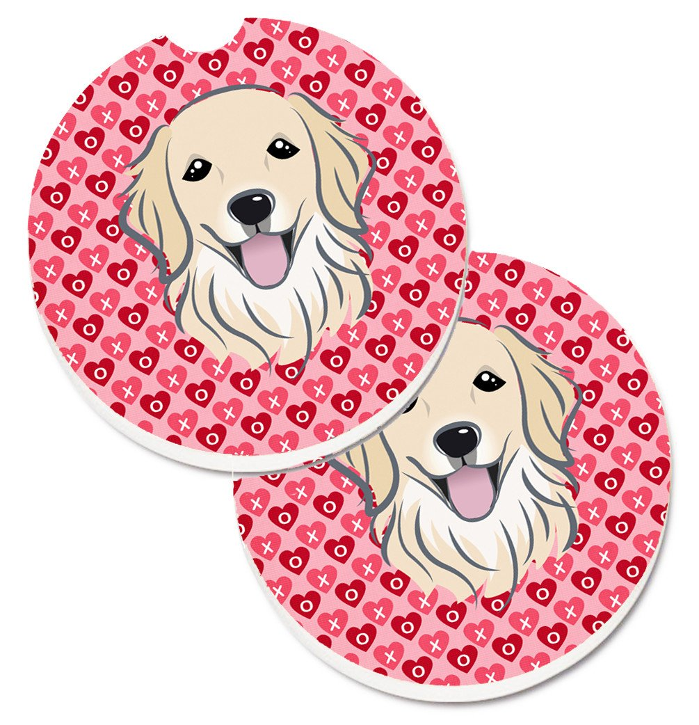 Golden Retriever Hearts Set of 2 Cup Holder Car Coasters BB5275CARC by Caroline's Treasures