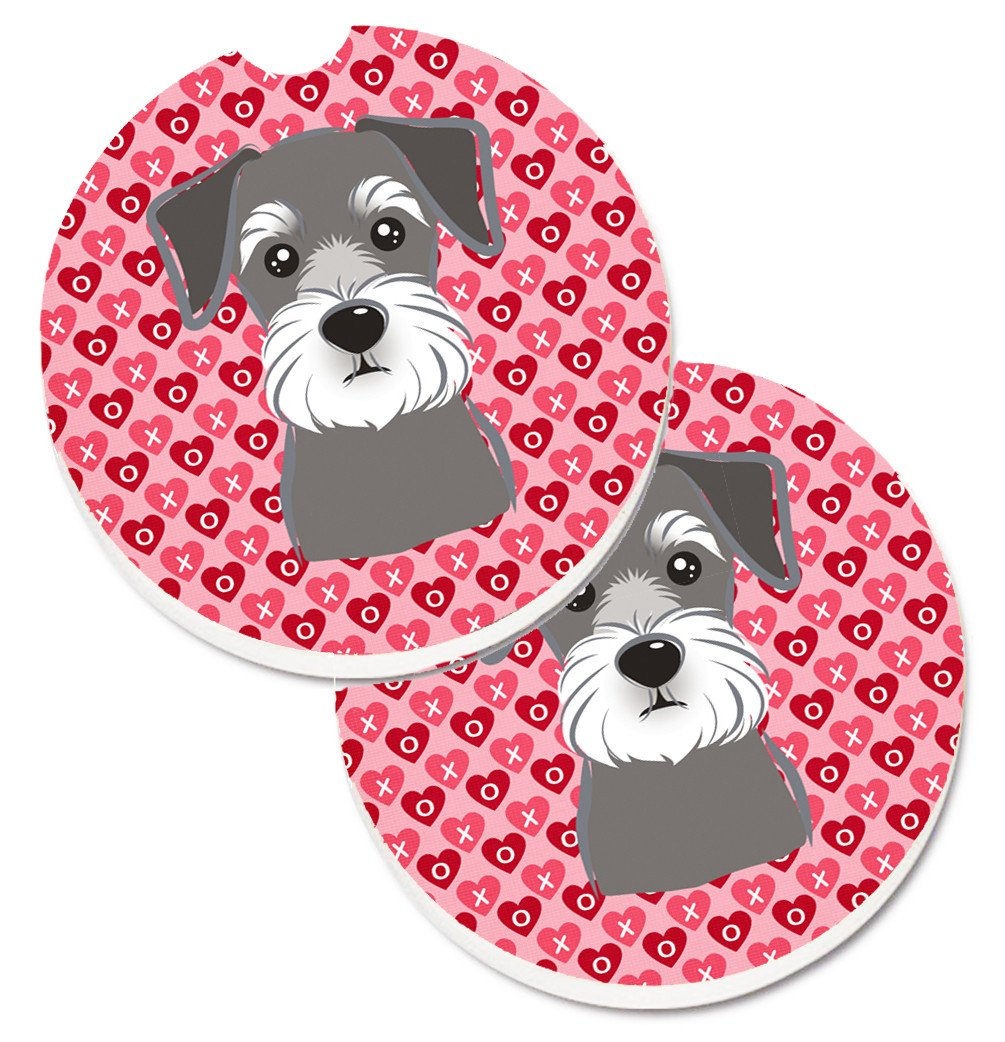 Schnauzer Hearts Set of 2 Cup Holder Car Coasters BB5276CARC by Caroline's Treasures