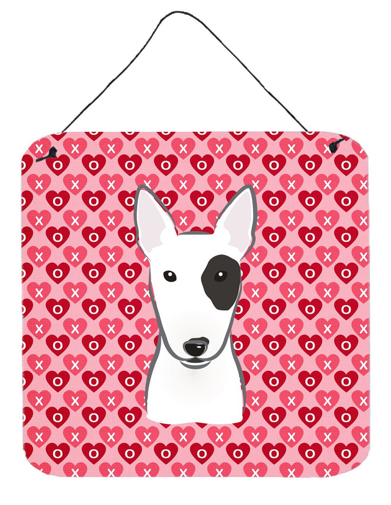 Buy this Bull Terrier Hearts Wall or Door Hanging Prints BB5279DS66