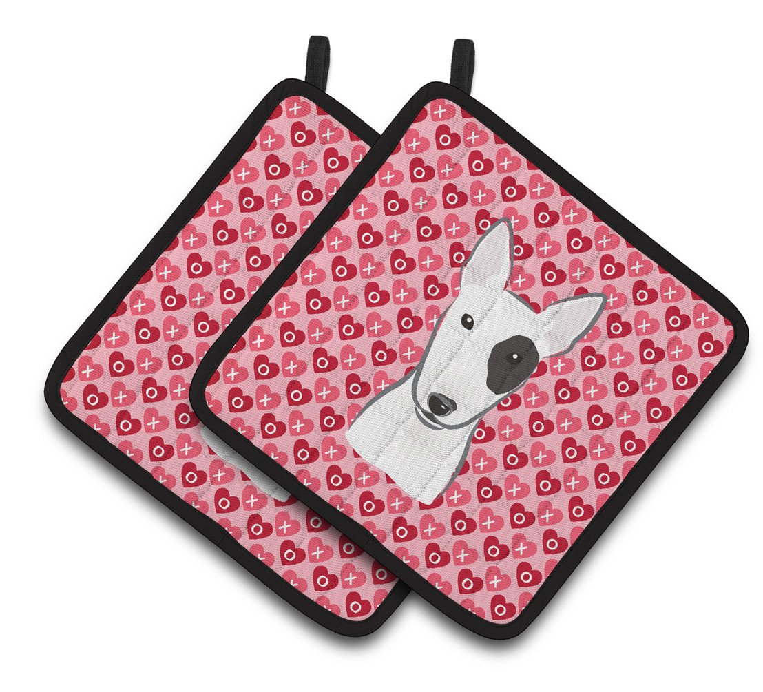 Buy this Bull Terrier Hearts Pair of Pot Holders BB5279PTHD