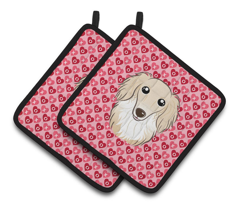 Buy this Longhair Creme Dachshund Hearts Pair of Pot Holders BB5282PTHD