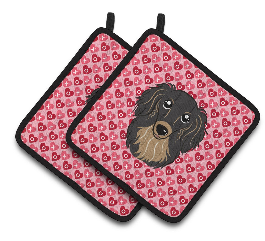 Longhair Black and Tan Dachshund Hearts Pair of Pot Holders BB5283PTHD by Caroline's Treasures