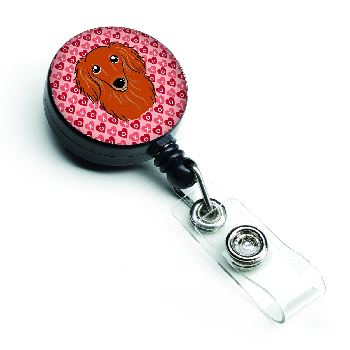 Longhair Red Dachshund Hearts Retractable Badge Reel BB5284BR by Caroline's Treasures