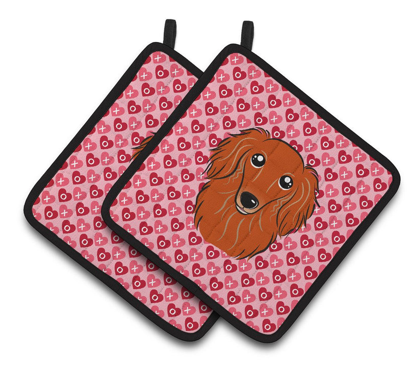 Buy this Longhair Red Dachshund Hearts Pair of Pot Holders BB5284PTHD