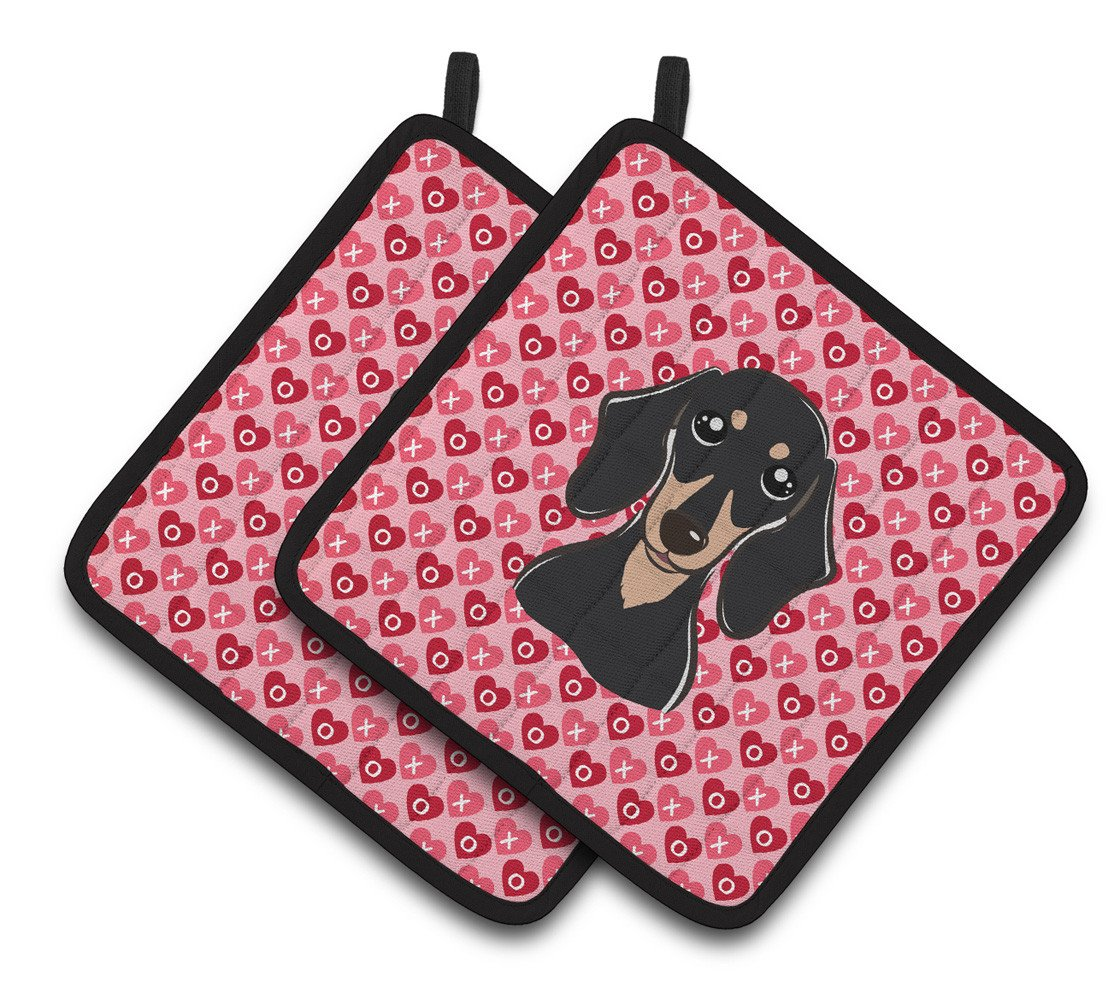 Buy this Smooth Black and Tan Dachshund Hearts Pair of Pot Holders BB5285PTHD