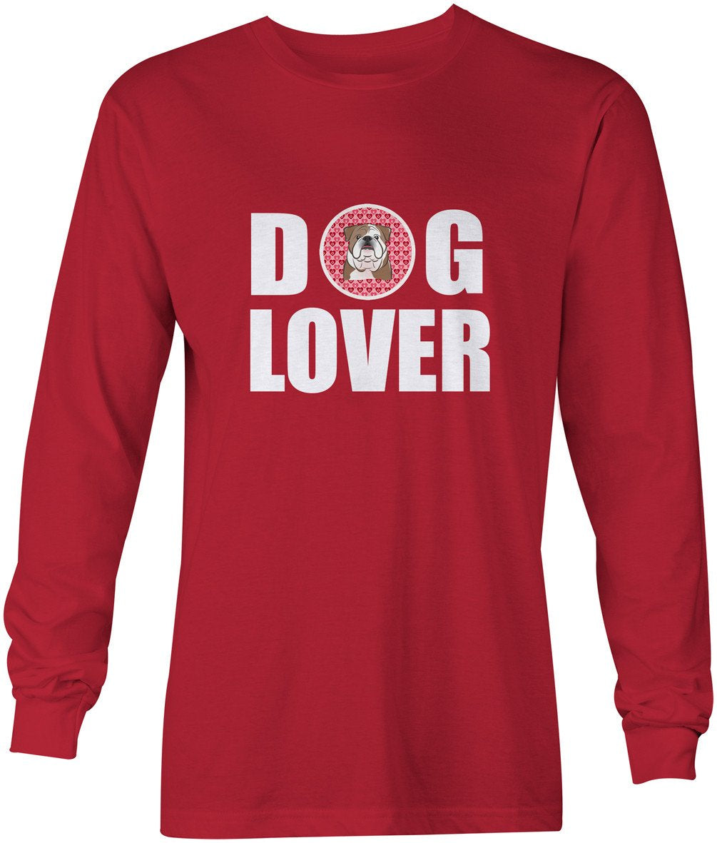 English Bulldog  Dog Lover Long Sleeve Red Unisex Tshirt Adult Small BB5289-LS-RED-S by Caroline's Treasures
