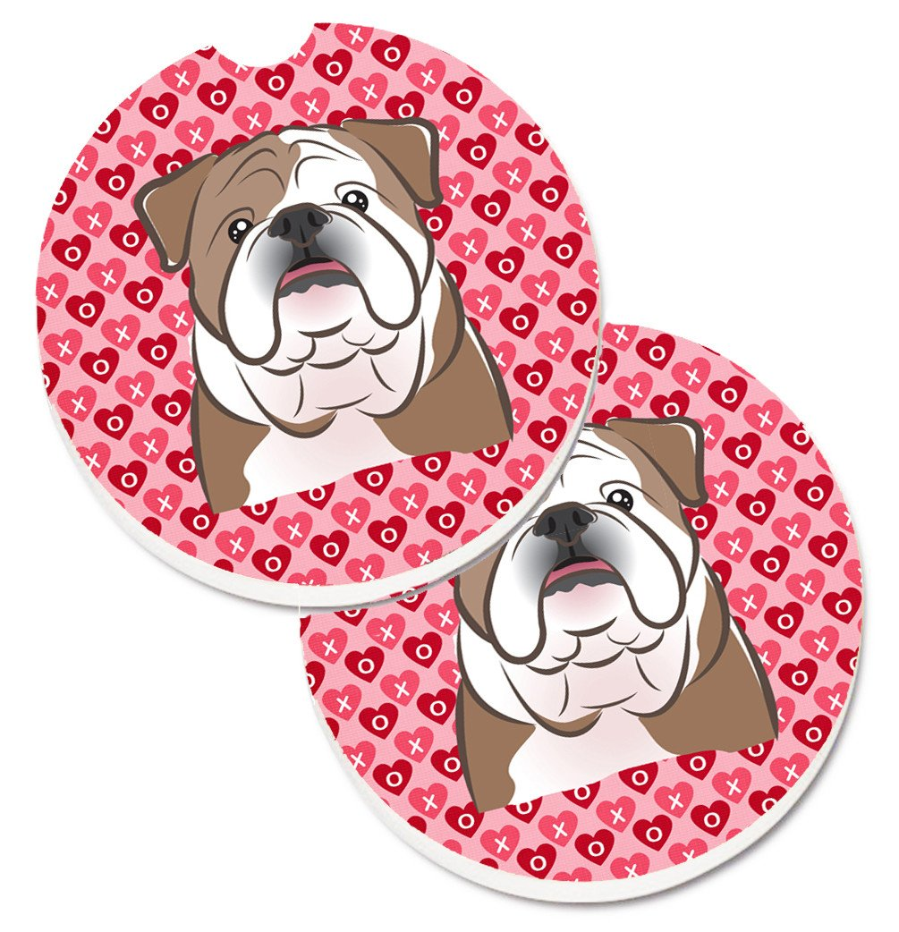 English Bulldog  Hearts Set of 2 Cup Holder Car Coasters BB5289CARC by Caroline's Treasures