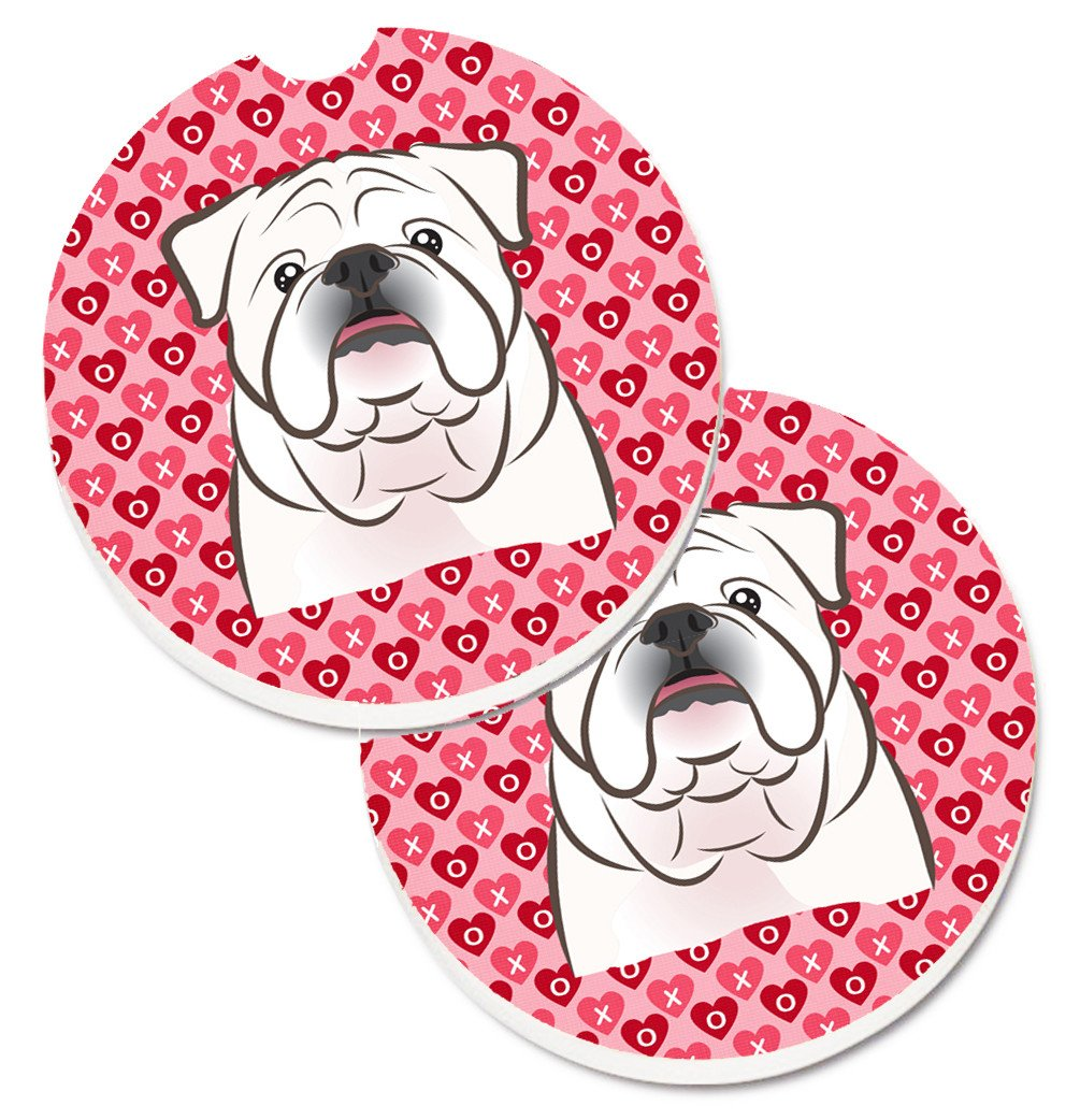 White English Bulldog  Hearts Set of 2 Cup Holder Car Coasters BB5290CARC by Caroline's Treasures