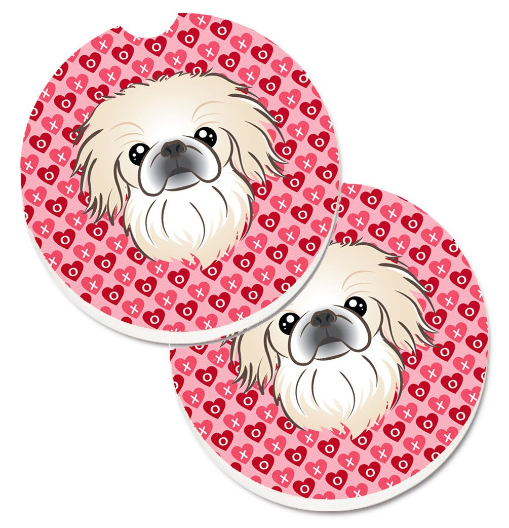 Pekingese Hearts Set of 2 Cup Holder Car Coasters BB5291CARC by Caroline's Treasures