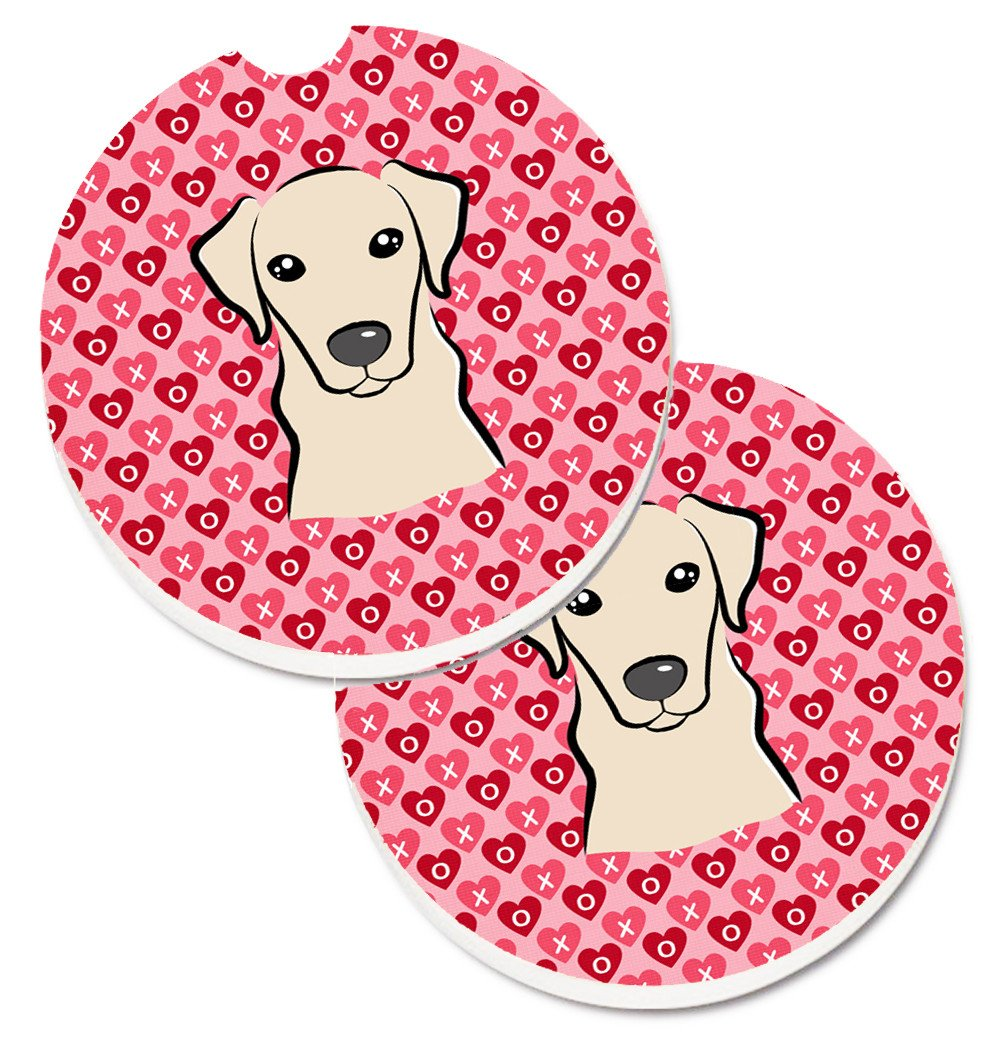 Yellow Labrador Hearts Set of 2 Cup Holder Car Coasters BB5292CARC by Caroline's Treasures