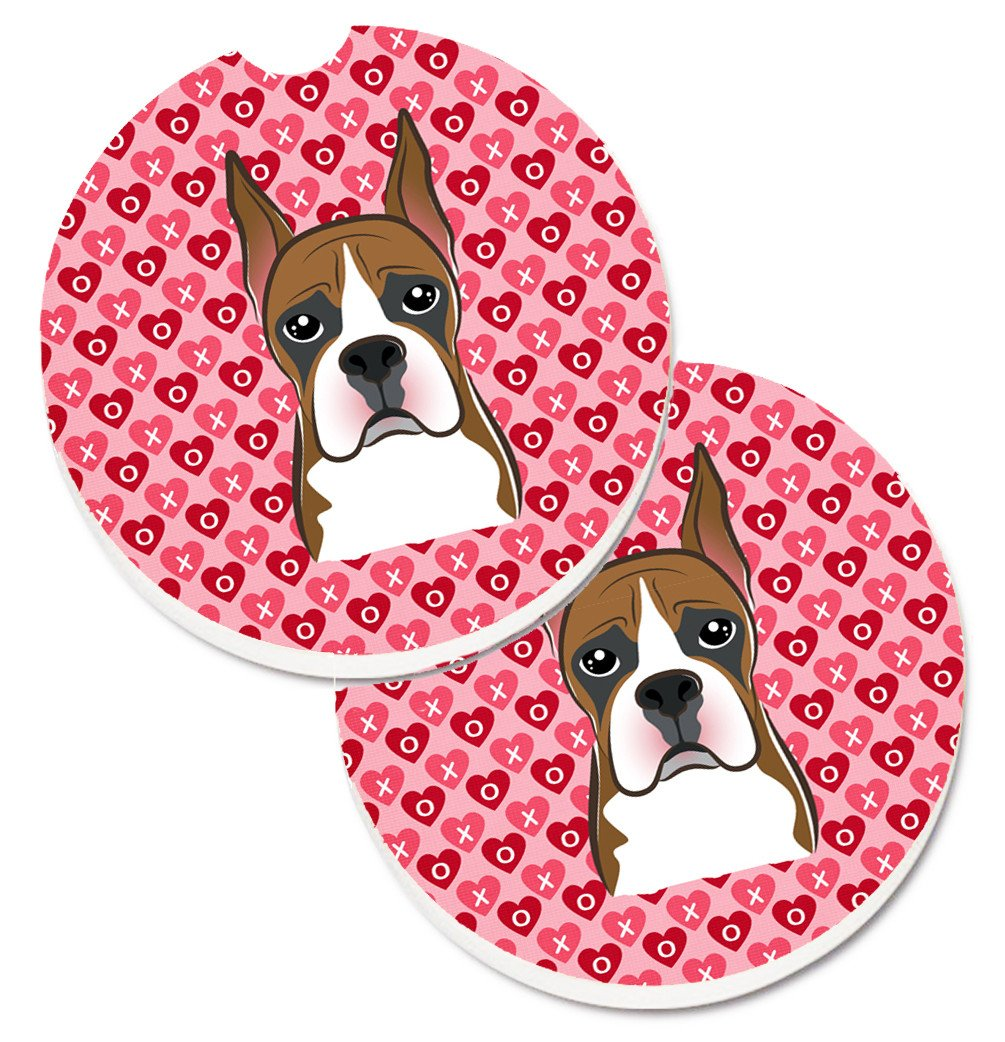 Boxer Hearts Set of 2 Cup Holder Car Coasters BB5293CARC by Caroline's Treasures