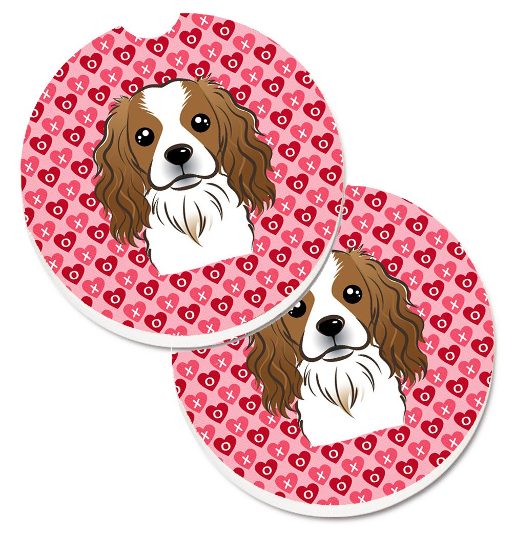 Cavalier Spaniel Hearts Set of 2 Cup Holder Car Coasters BB5294CARC by Caroline's Treasures