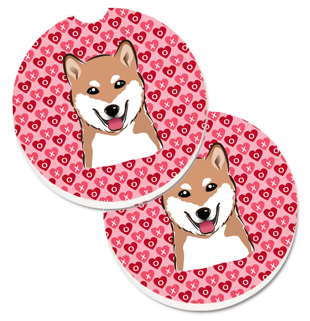 Shiba Inu Hearts Set of 2 Cup Holder Car Coasters BB5295CARC by Caroline's Treasures