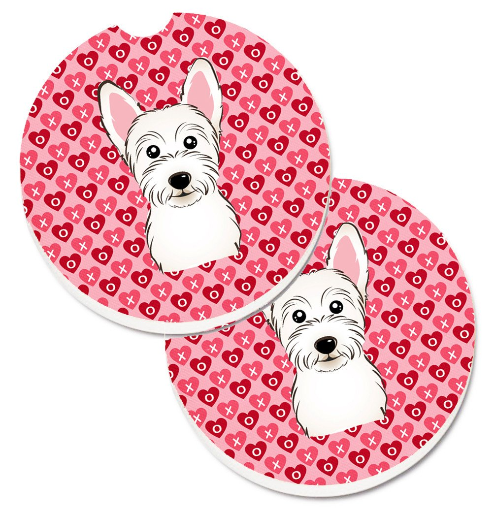 Westie Hearts Set of 2 Cup Holder Car Coasters BB5296CARC by Caroline's Treasures