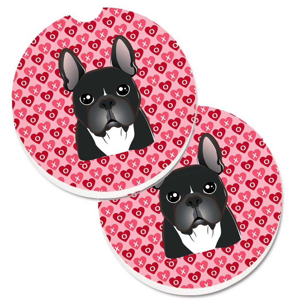 French Bulldog Hearts Set of 2 Cup Holder Car Coasters BB5297CARC by Caroline's Treasures