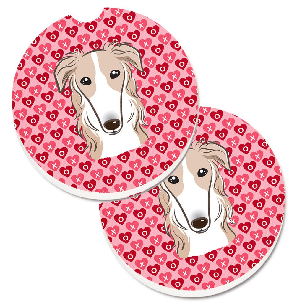 Borzoi Hearts Set of 2 Cup Holder Car Coasters BB5298CARC by Caroline's Treasures