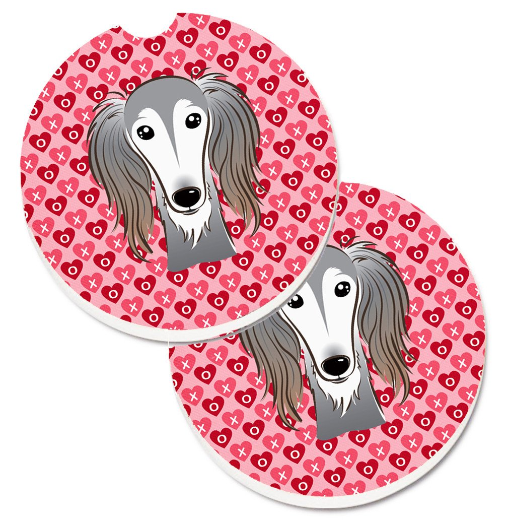 Saluki Hearts Set of 2 Cup Holder Car Coasters BB5299CARC by Caroline's Treasures