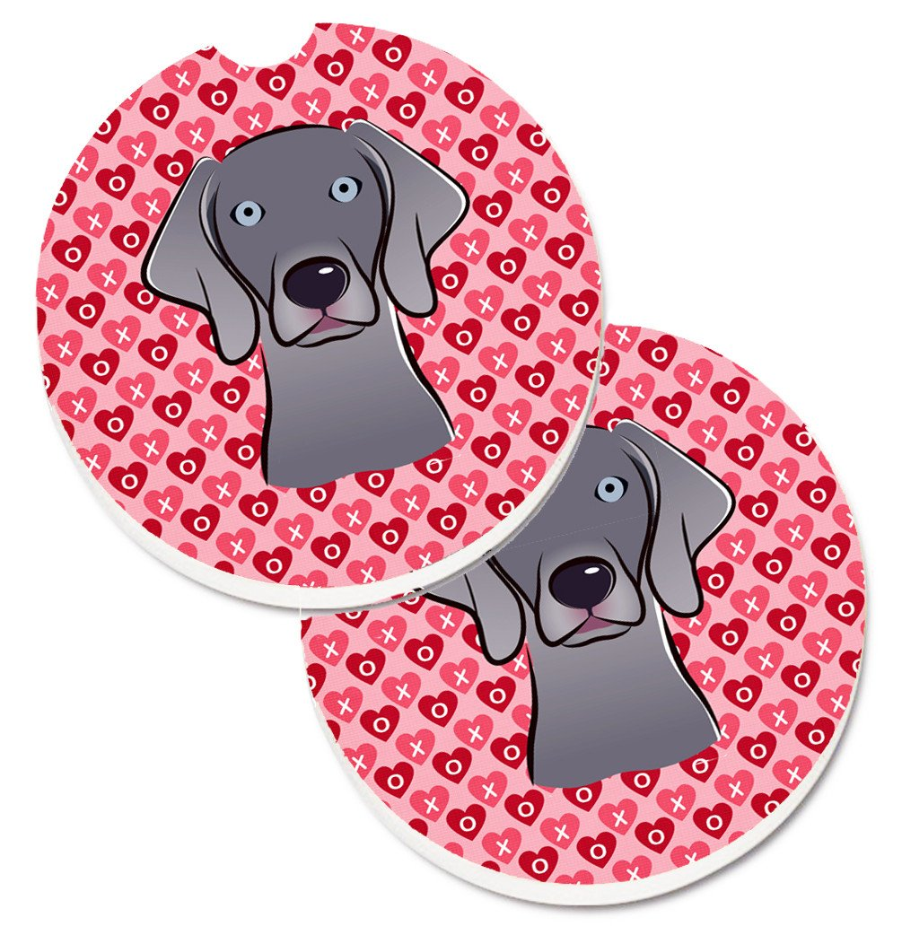 Weimaraner Hearts Set of 2 Cup Holder Car Coasters BB5301CARC by Caroline's Treasures