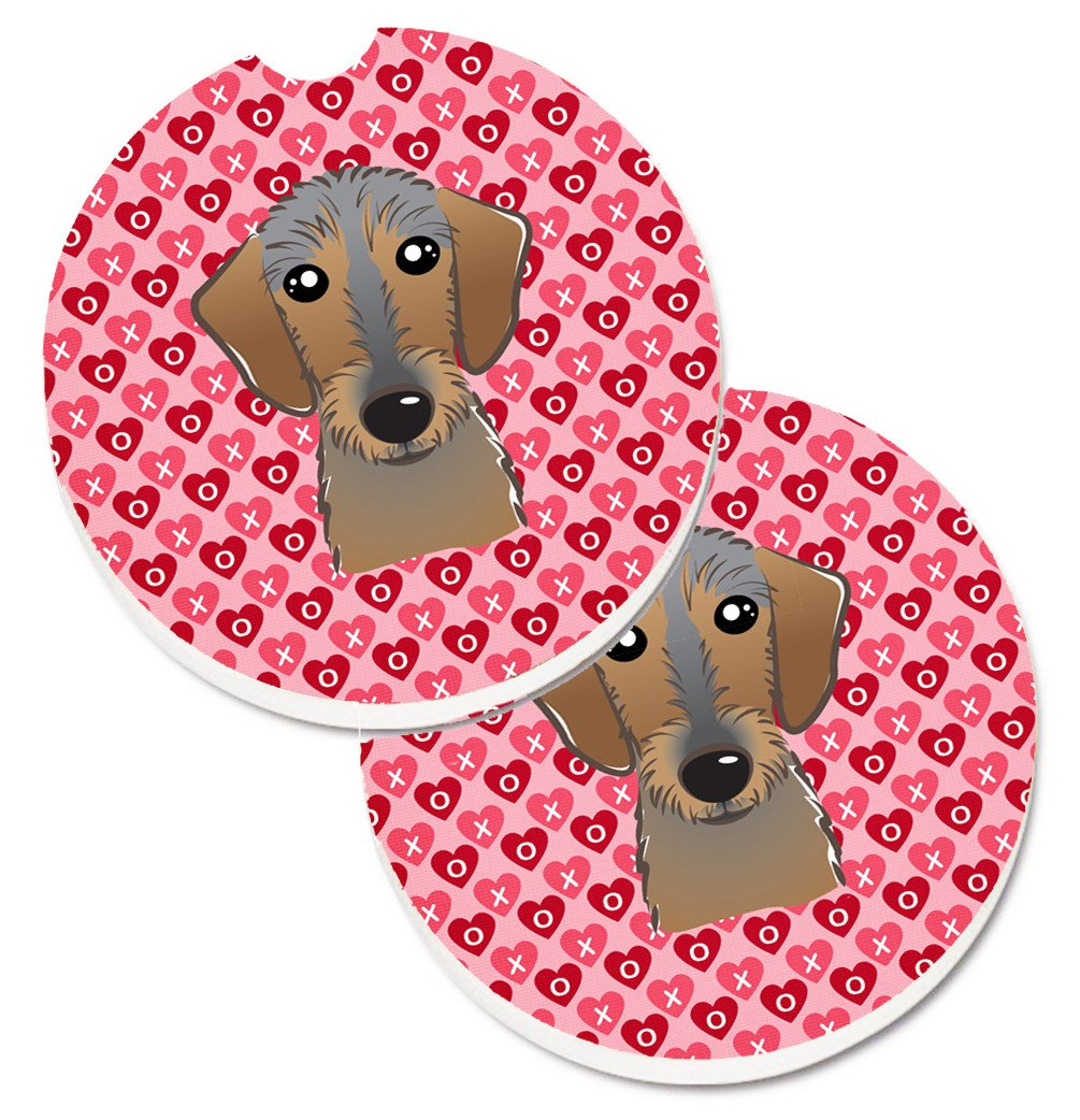 Wirehaired Dachshund Hearts Set of 2 Cup Holder Car Coasters BB5303CARC by Caroline's Treasures