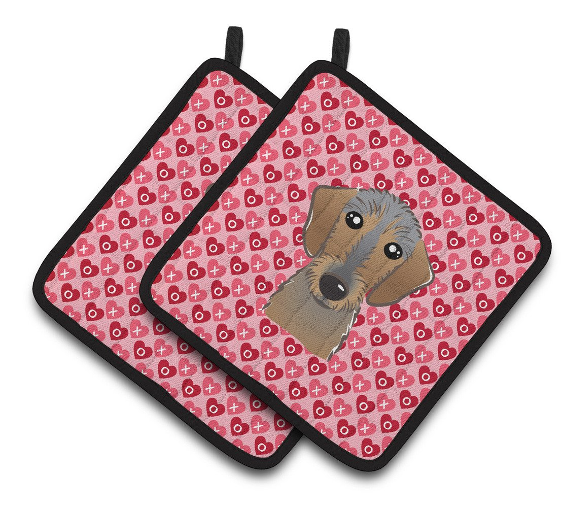 Buy this Wirehaired Dachshund Hearts Pair of Pot Holders BB5303PTHD