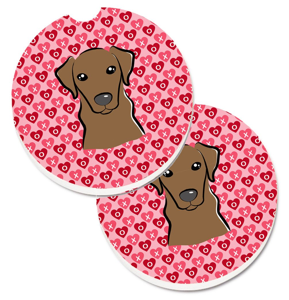 Chocolate Labrador Hearts Set of 2 Cup Holder Car Coasters BB5304CARC by Caroline's Treasures