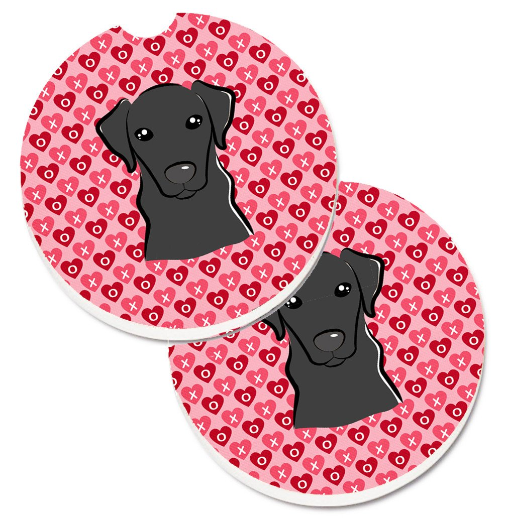 Black Labrador Hearts Set of 2 Cup Holder Car Coasters BB5305CARC by Caroline's Treasures
