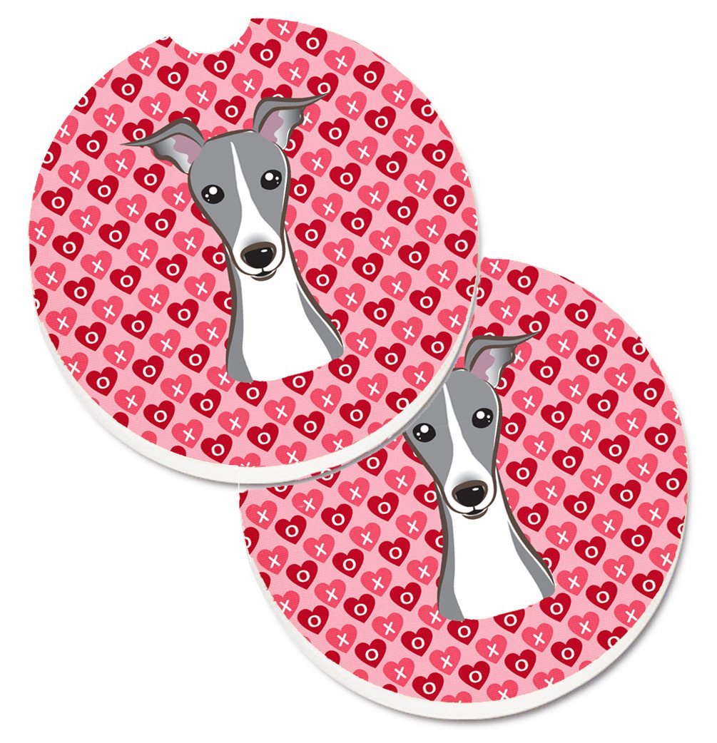 Italian Greyhound Hearts Set of 2 Cup Holder Car Coasters BB5306CARC by Caroline's Treasures