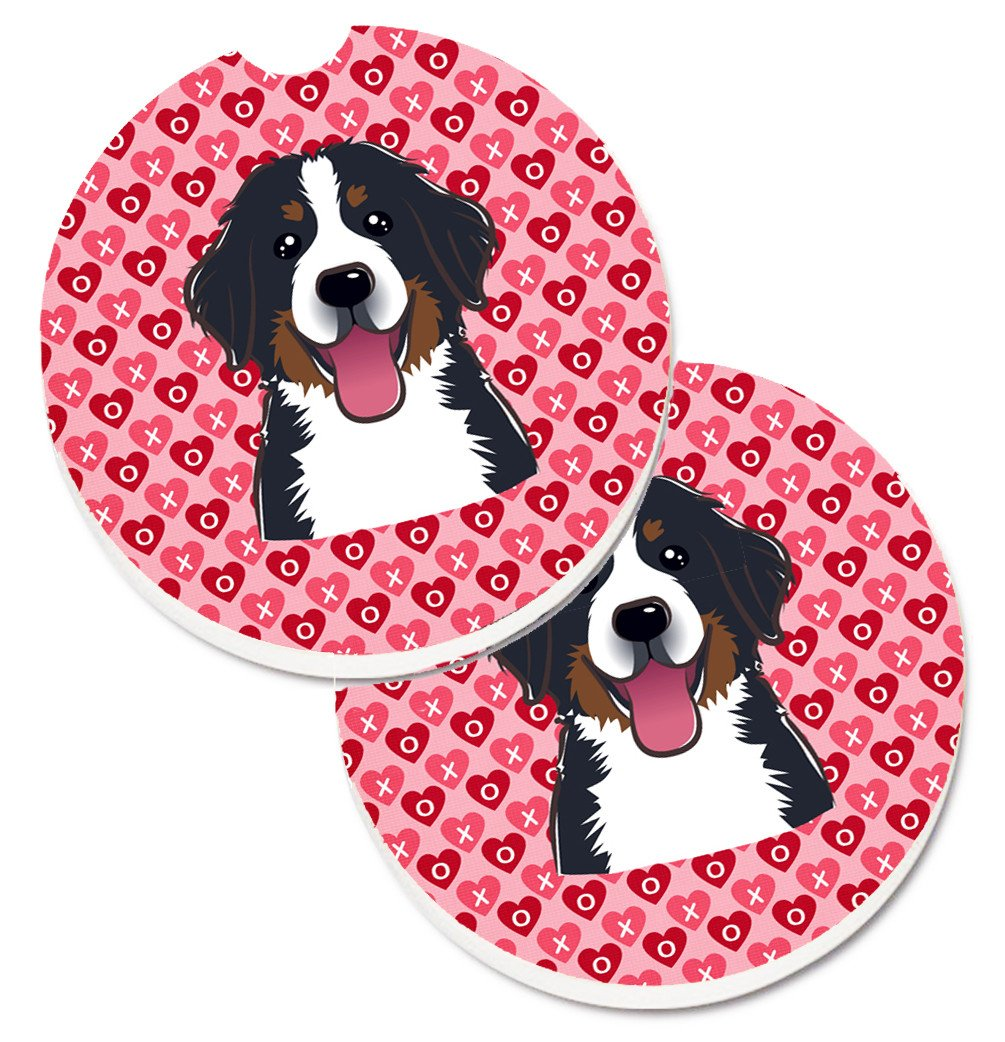 Bernese Mountain Dog Hearts Set of 2 Cup Holder Car Coasters BB5307CARC by Caroline's Treasures