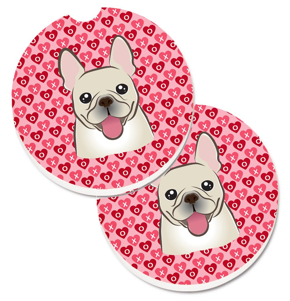 French Bulldog Hearts Set of 2 Cup Holder Car Coasters BB5308CARC by Caroline's Treasures