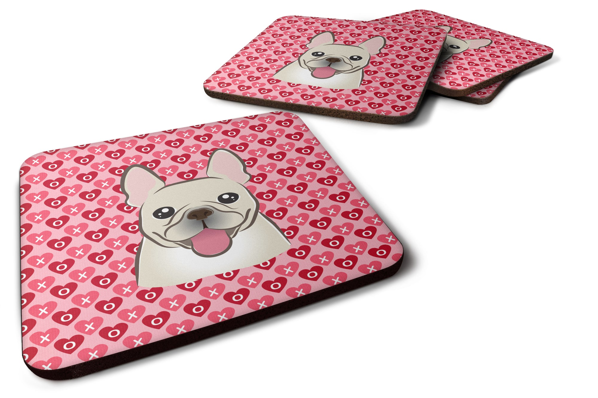 French Bulldog Hearts Foam Coaster Set of 4 BB5308FC by Caroline's Treasures
