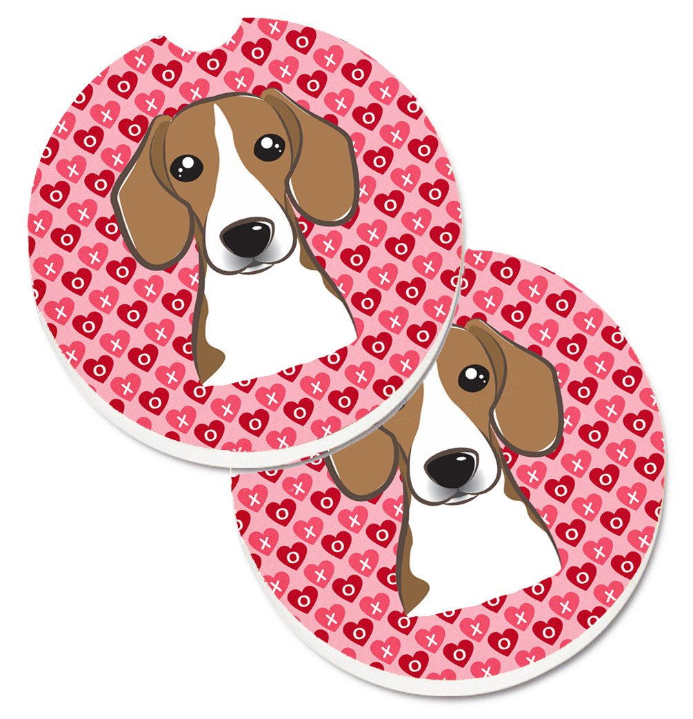 Beagle Hearts Set of 2 Cup Holder Car Coasters BB5309CARC by Caroline's Treasures