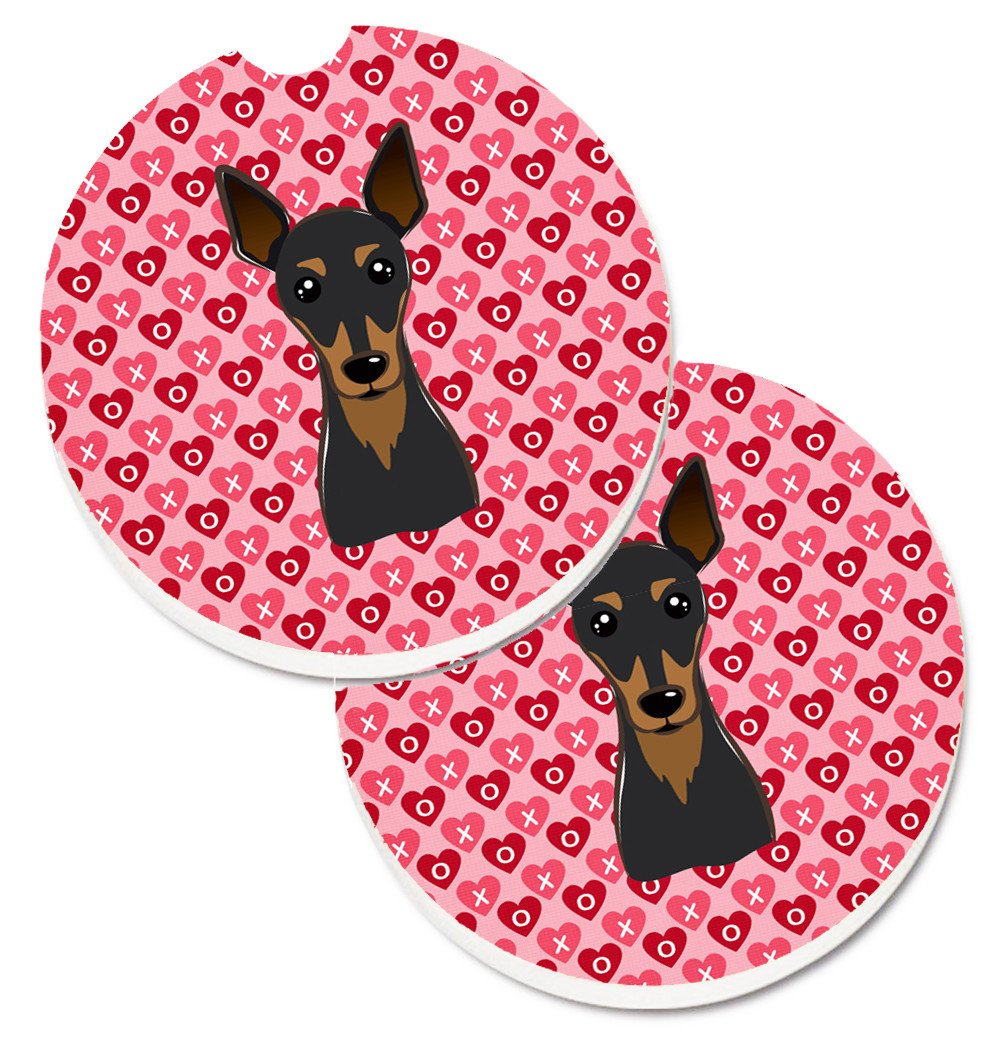 Min Pin Hearts Set of 2 Cup Holder Car Coasters BB5310CARC by Caroline's Treasures