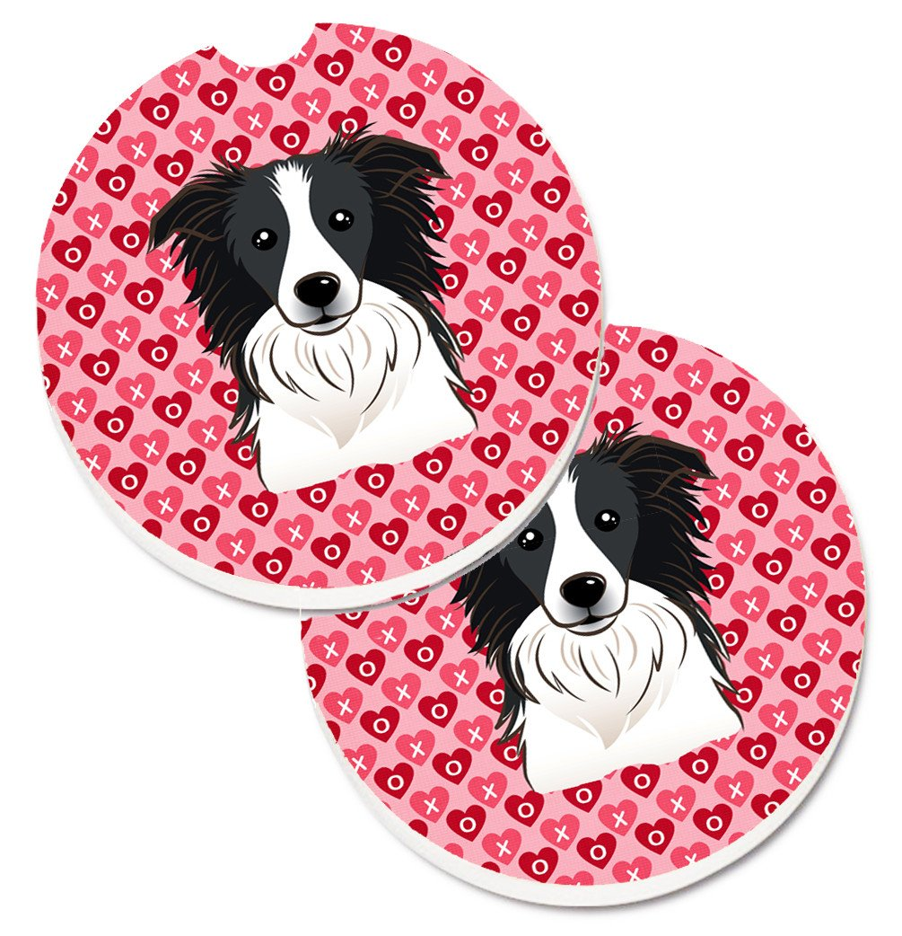 Border Collie Hearts Set of 2 Cup Holder Car Coasters BB5311CARC by Caroline's Treasures