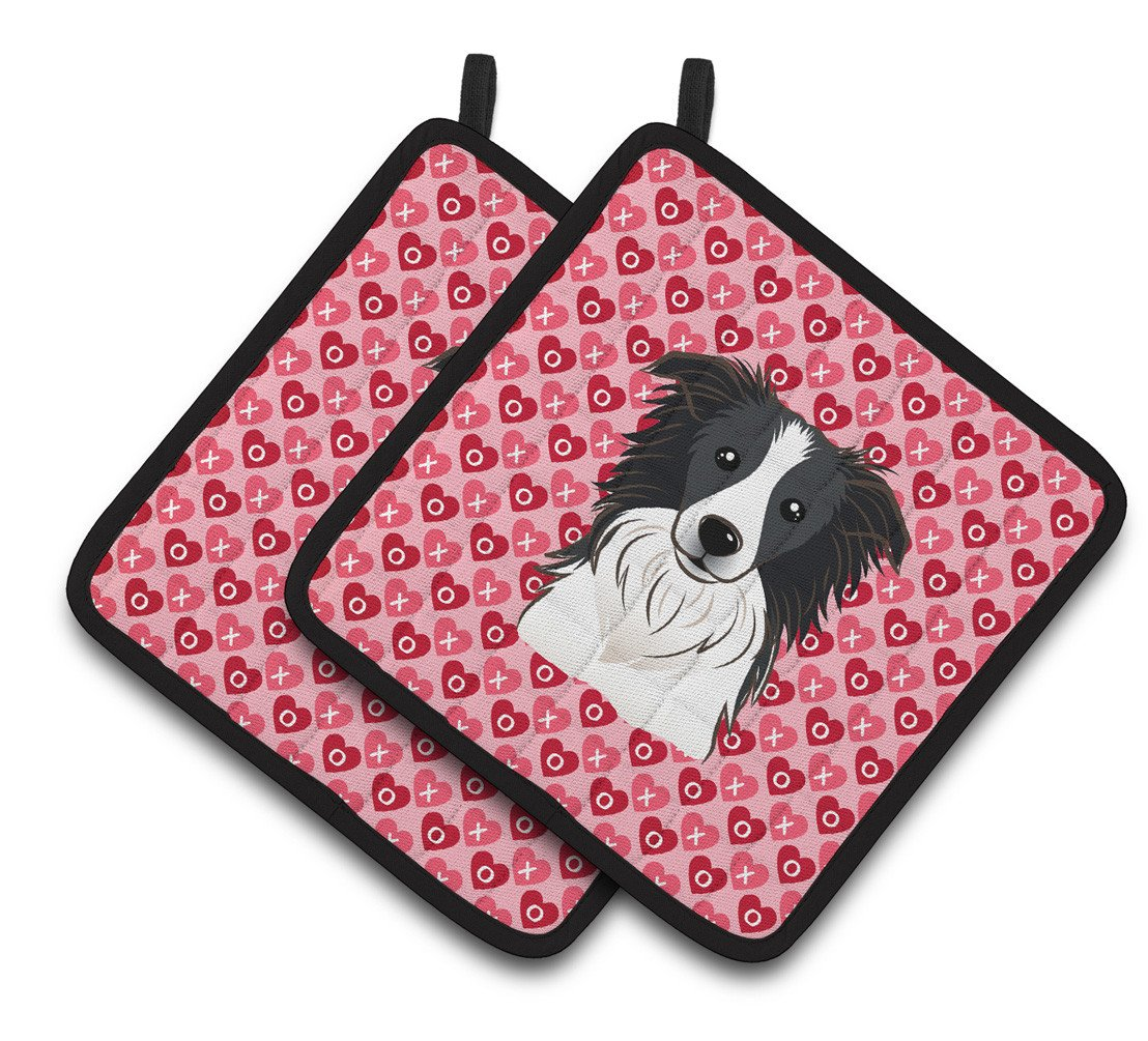 Border Collie Hearts Pair of Pot Holders BB5311PTHD by Caroline's Treasures