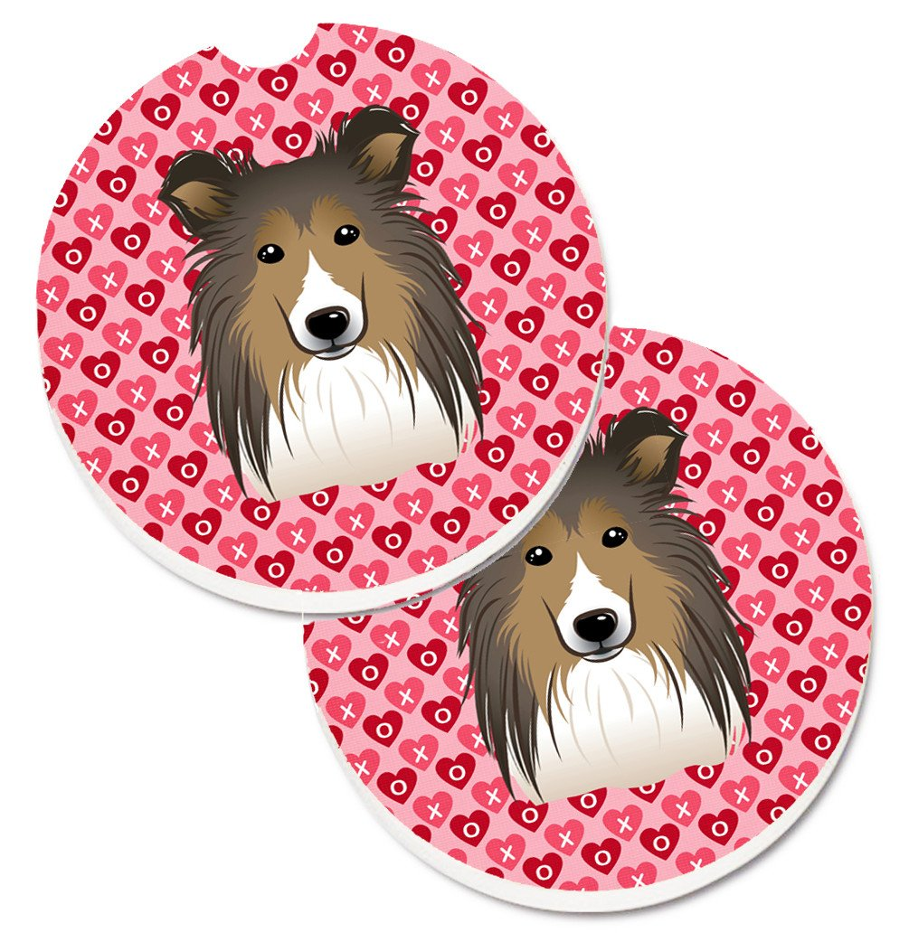 Sheltie Hearts Set of 2 Cup Holder Car Coasters BB5312CARC by Caroline's Treasures