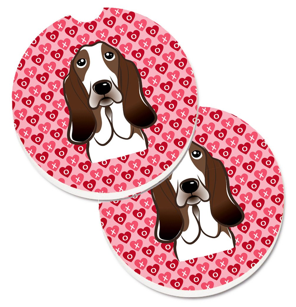 Basset Hound Hearts Set of 2 Cup Holder Car Coasters BB5313CARC by Caroline's Treasures