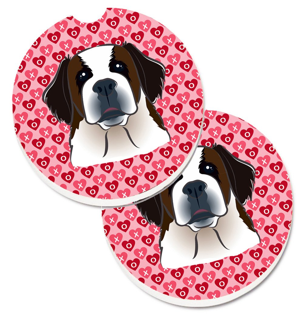 Saint Bernard Hearts Set of 2 Cup Holder Car Coasters BB5316CARC by Caroline's Treasures