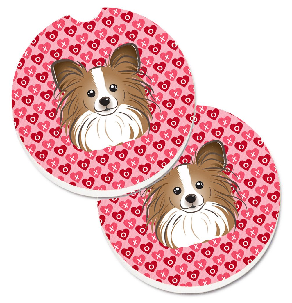 Papillon Hearts Set of 2 Cup Holder Car Coasters BB5318CARC by Caroline's Treasures