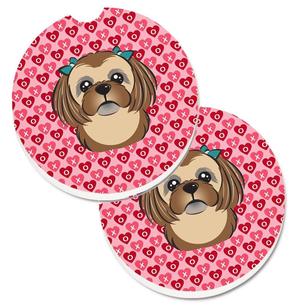Chocolate Brown Shih Tzu Hearts Set of 2 Cup Holder Car Coasters BB5319CARC by Caroline's Treasures