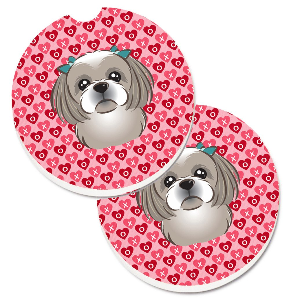 Gray Silver Shih Tzu Hearts Set of 2 Cup Holder Car Coasters BB5320CARC by Caroline's Treasures