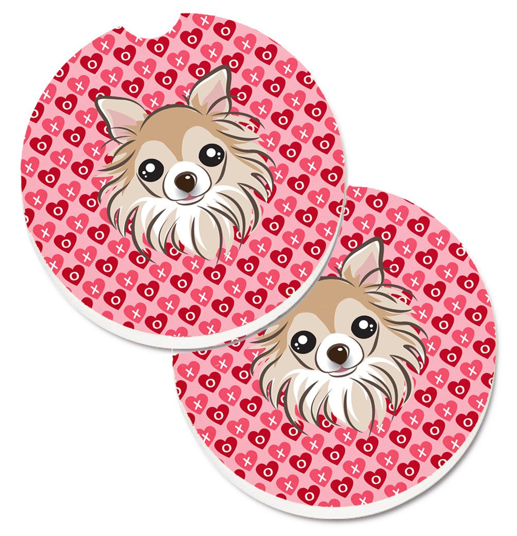 Chihuahua Hearts Set of 2 Cup Holder Car Coasters BB5321CARC by Caroline's Treasures