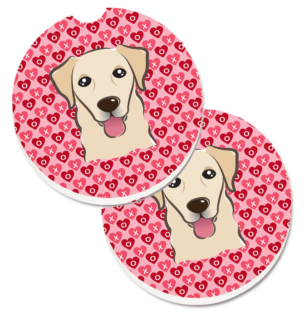 Golden Retriever Hearts Set of 2 Cup Holder Car Coasters BB5322CARC by Caroline's Treasures