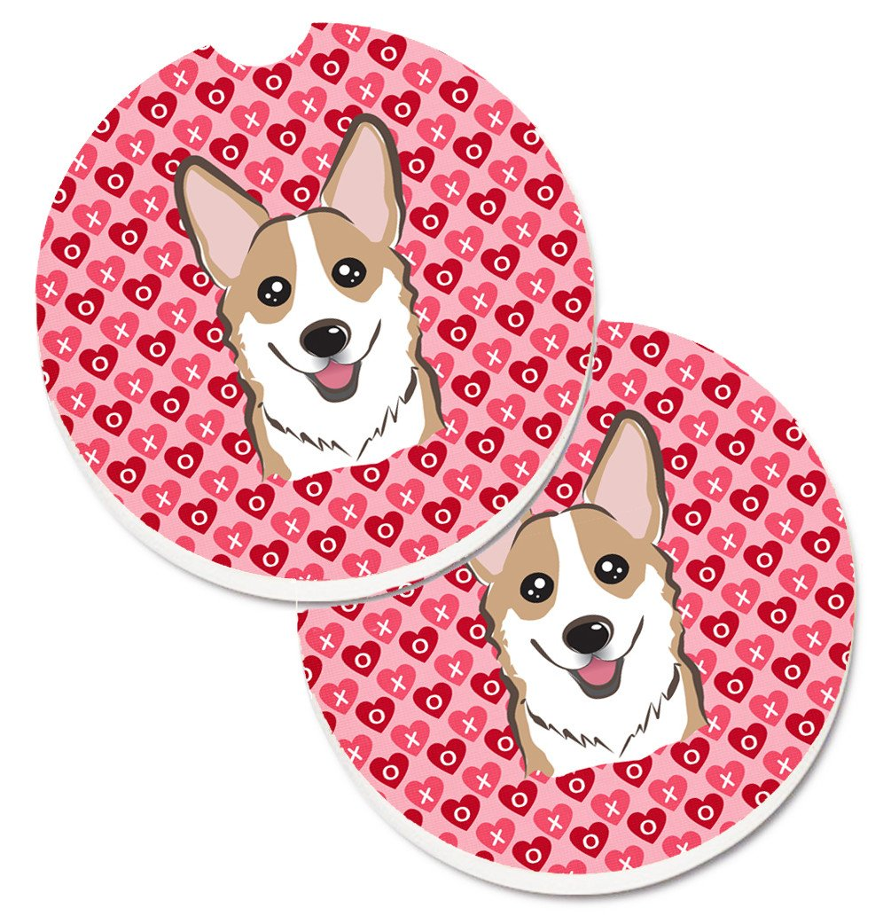 Sable Corgi Hearts Set of 2 Cup Holder Car Coasters BB5323CARC by Caroline's Treasures