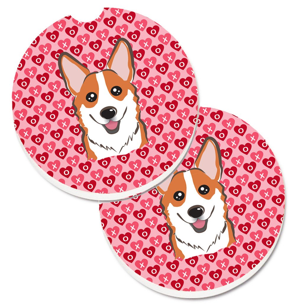 Red Corgi Hearts Set of 2 Cup Holder Car Coasters BB5324CARC by Caroline's Treasures