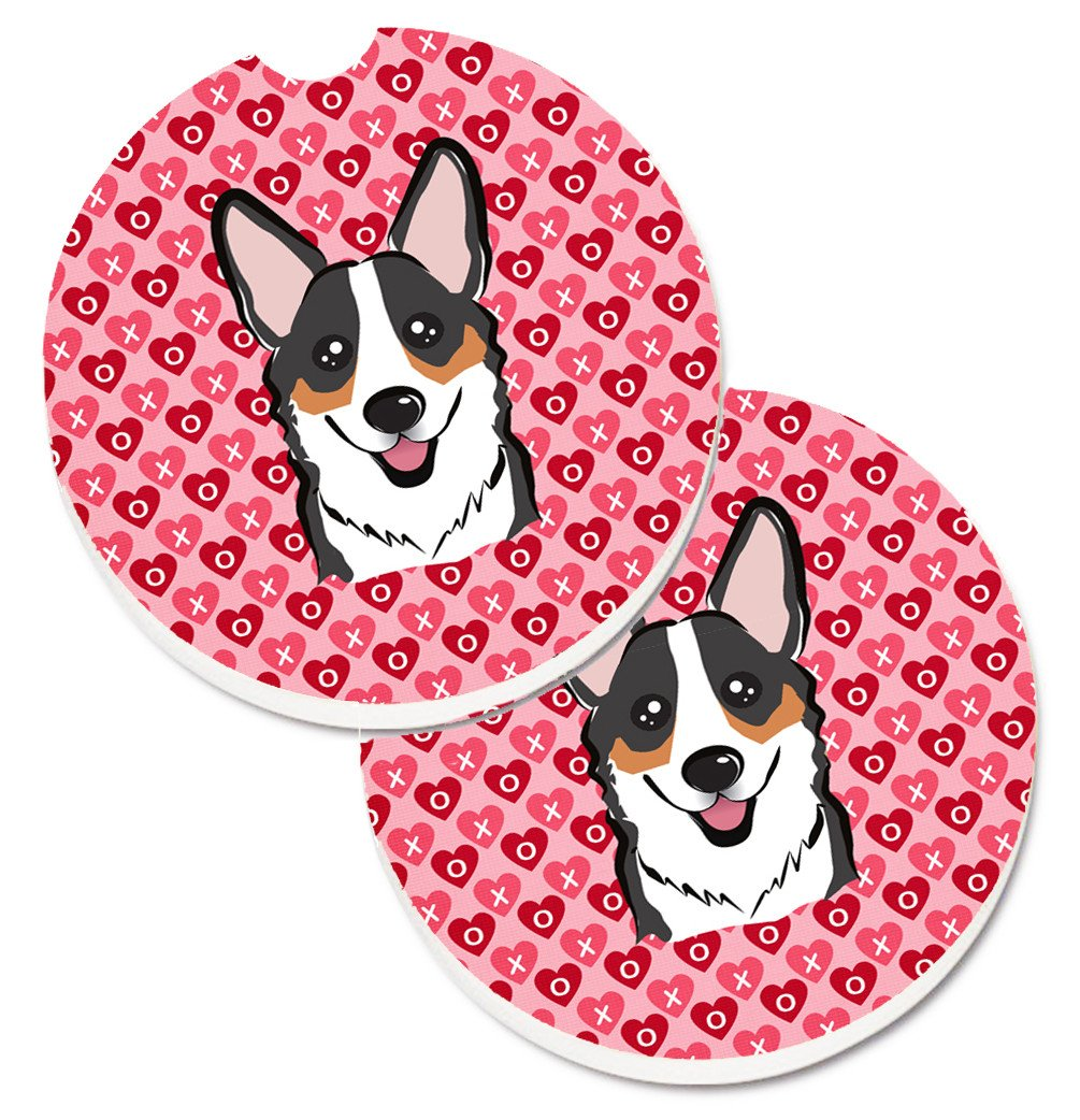Tricolor Corgi Hearts Set of 2 Cup Holder Car Coasters BB5325CARC by Caroline's Treasures
